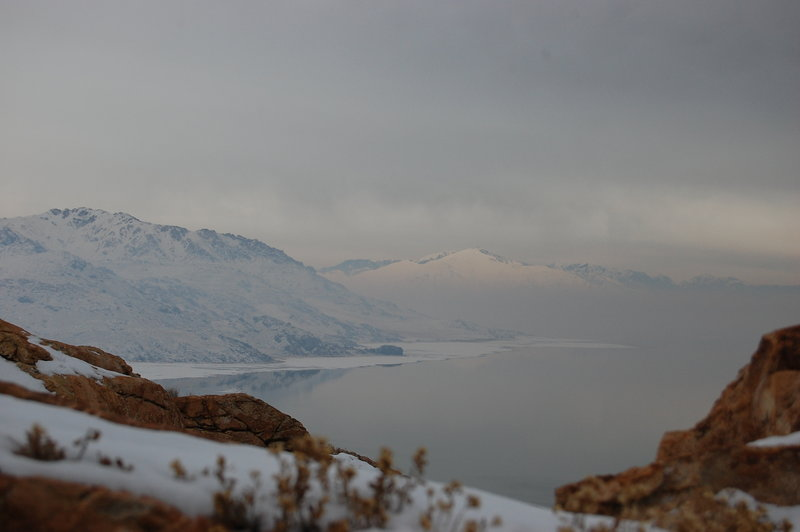Low clouds and Antelope Island from the Lakeside Trail
