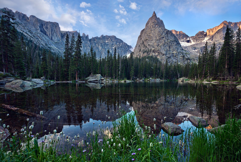 Lone Eagle Peak above Mirror - from the Crater Lake Trail