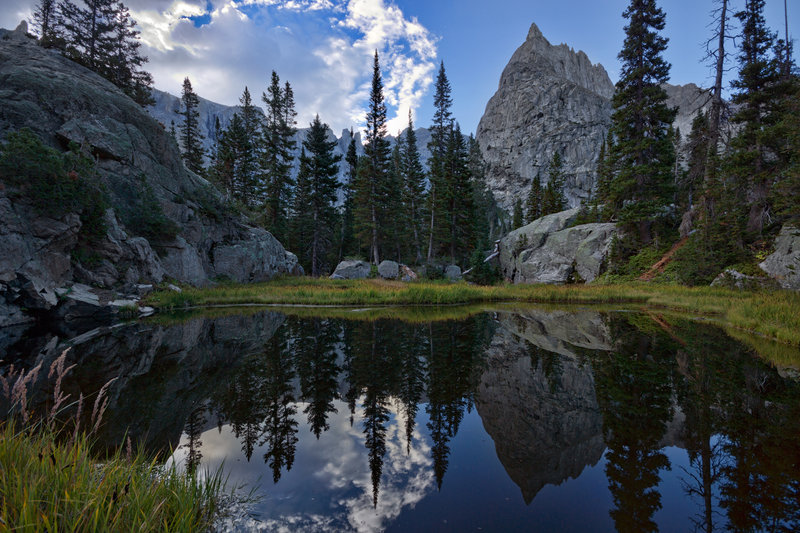 Lone Eagle Peak reflected in unnamed small pond