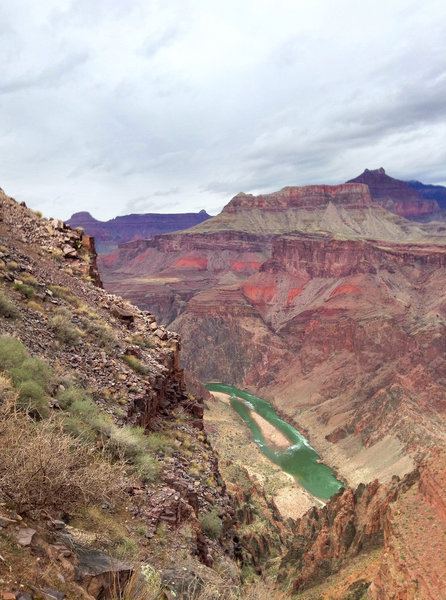 The first views of the Colorado, hiking down the South Kaibab Trail