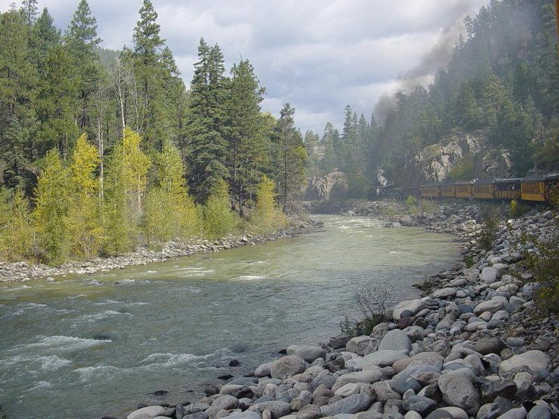 Train along the Animas River.