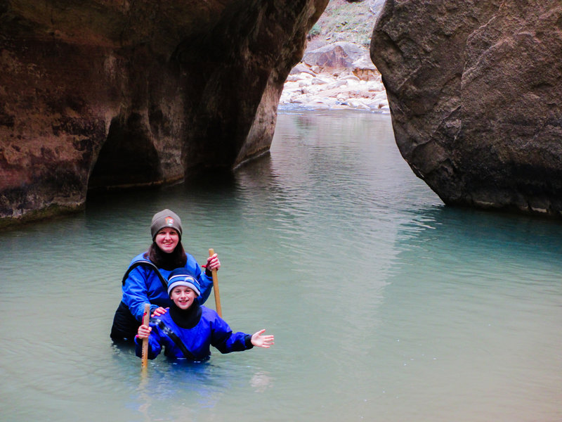 Hiking (or wading) in the Narrows.