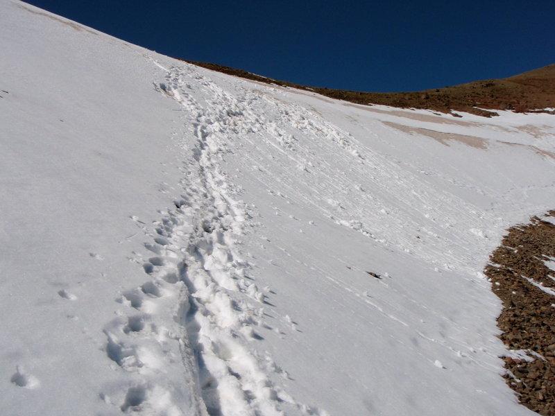 Late season snowfield below Hyalite Peak.