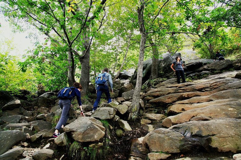 Climbing the initial scramble up the Breakneck Ridge Trail