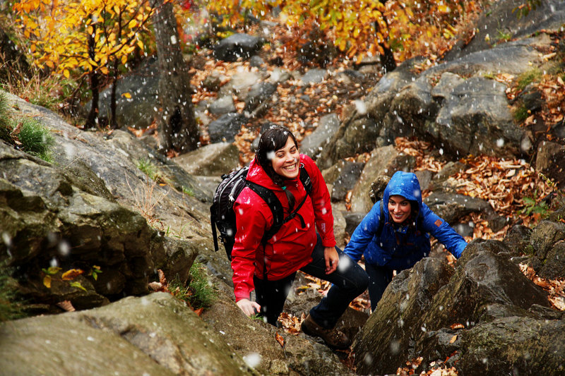 Heading up the Breakneck scramble in light snow