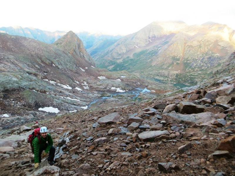 """In the upper basin below Sunlight Peak, approaching the gully or """"red couloir."""""""