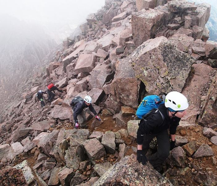 Be careful on the loose, rocky terrain on Windom Peak's alternate route, the connector with Sunlight Peak.