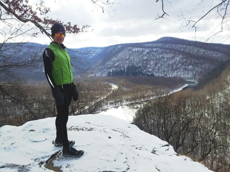 Overlooking the Youghiogheny River on a snowy day - Laurel Highlands Trail