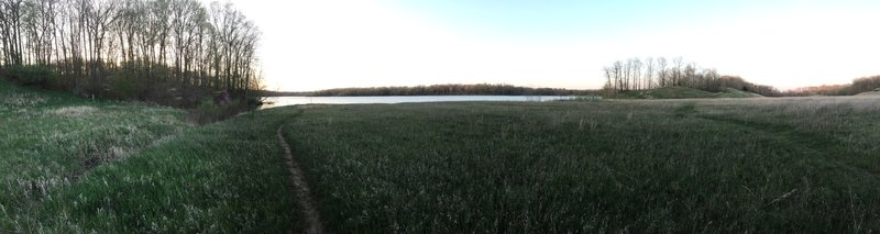 View of Mill Creek Lake from the emergency spillway.  Fay Pickering Memorial Trails