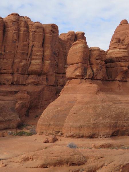 Towering red sandstone pillars