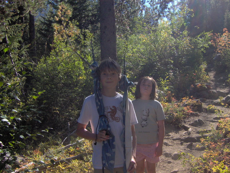 Two young fishers on the way to Colchuck Lake