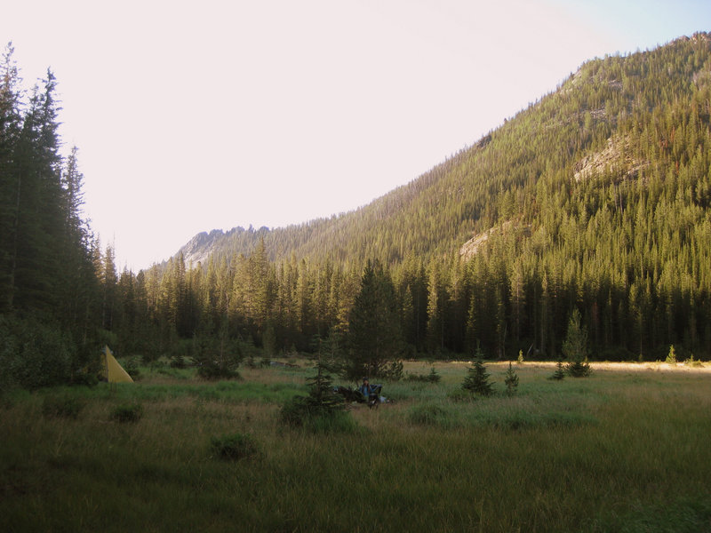 The grassy east shore of Peterson Lake provides exceptional camping.
