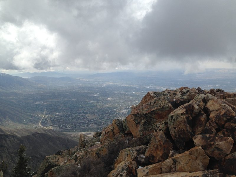 Looking at Salt Lake City from the summit of Mount Olympus