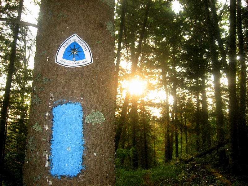 North Country Trail blaze and sign.