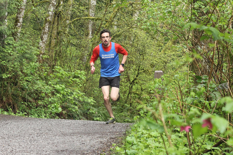 Cresting the last small hill at the end of the Lake Padden Loop.