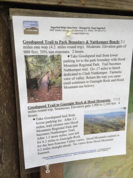 Sugarloaf Ridge State Park singage