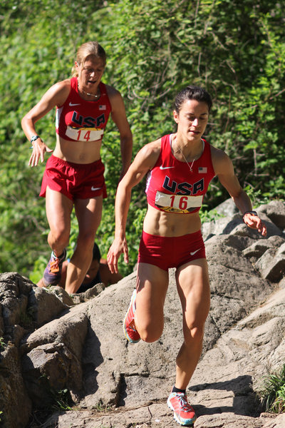 Over the top of the waterfalls at the 2014 Chupinaya Mountain Race