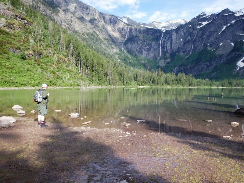 This is the end of the Avalanche Lake Trail in Glacier National Park.