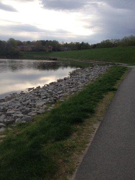 Along the dam