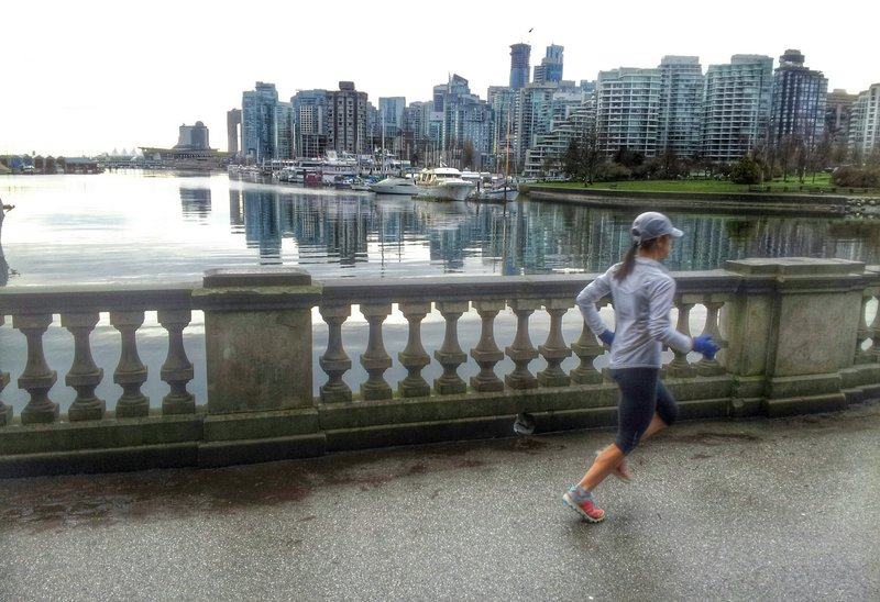 Heading clockwise around the Seawall Trial with downtown Vancouver in the background