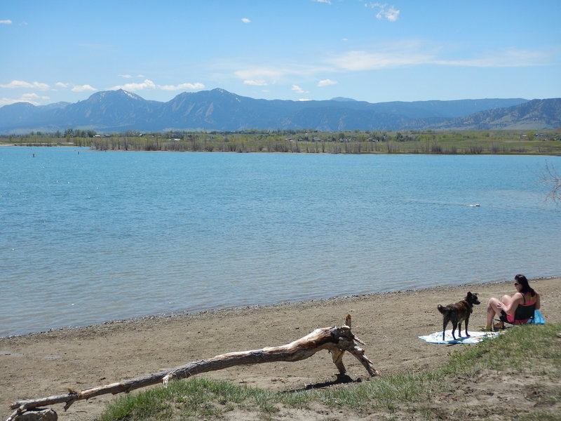 "Views of the Flatirons from the Boulder Reservoir ""beach"""