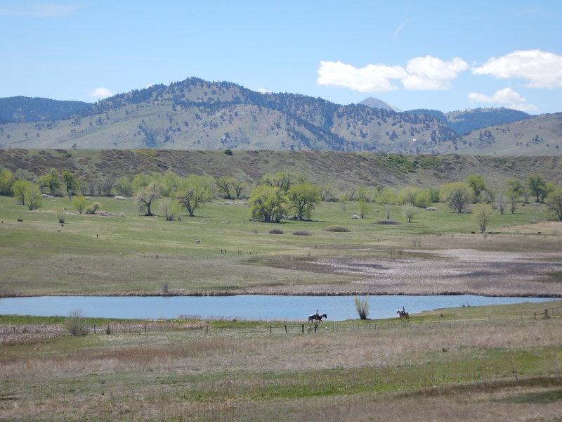 Equestrians enjoying Boulder Valley Ranch Pond #1
