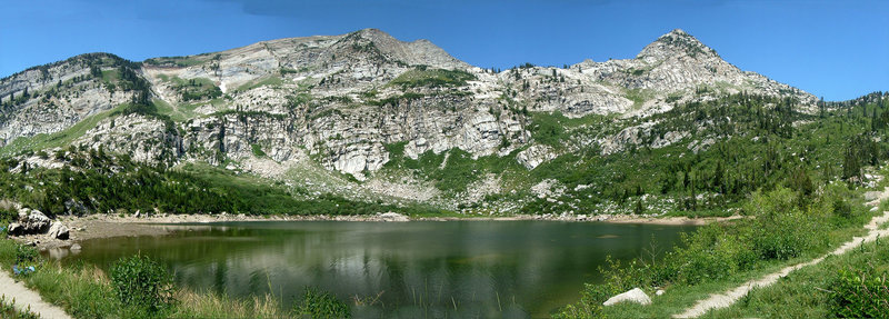 Panorama of Silver Lake in American Fork Canyon
