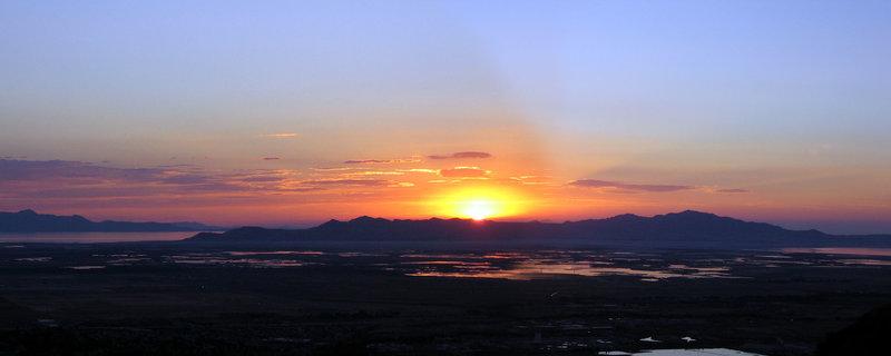 Sunset from above Ensign Peak on the Bonneville Shoreline Trail.