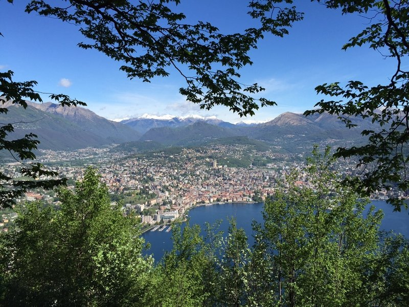 View of the beautiful Lugano and the Ticinese alps in the background