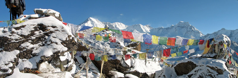 Cho Oyu and prayer flags from Gokyo Ri