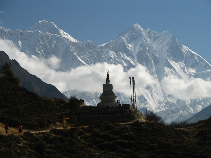 Chorten silhouetted by Lhotse & Everest