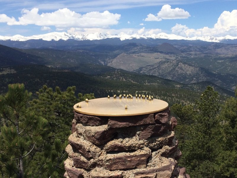 """The """"sighting disc"""" at the top of Green Mountain.  Line up the pins so you know what mountain you're looking at."""