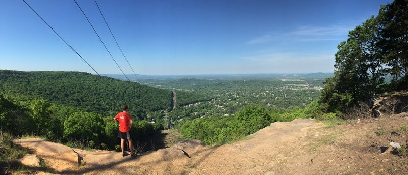 View of South Huntsville.  You can see the NASA test stand where the Saturn 5 engines were tested in the 60s and the Tennessee River.