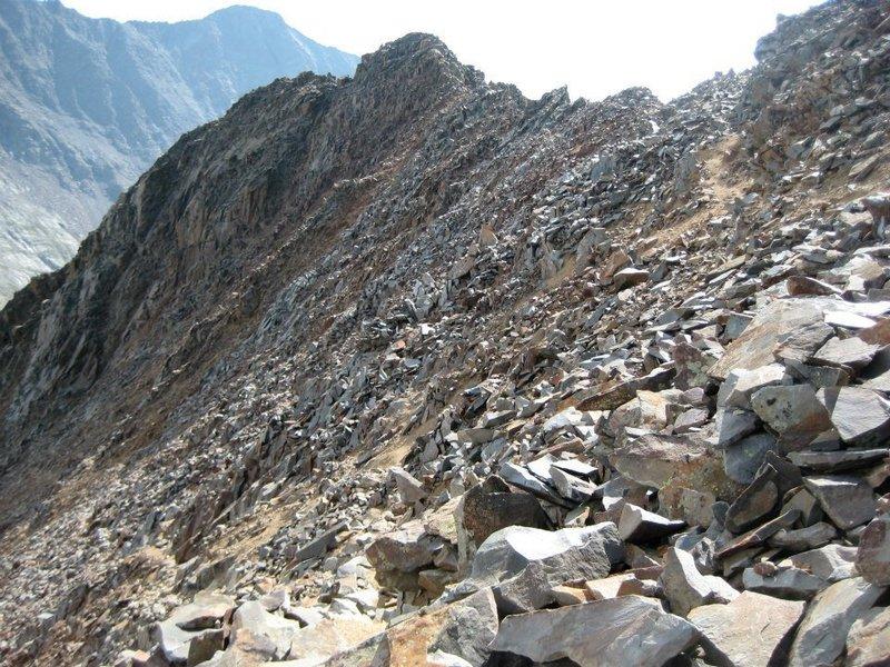 Looking back at the ridge below Wilson Peak's false summit.