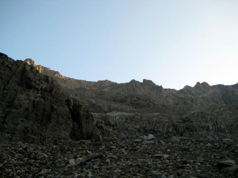 A look at the route, with El Diente's summit up and to the left.