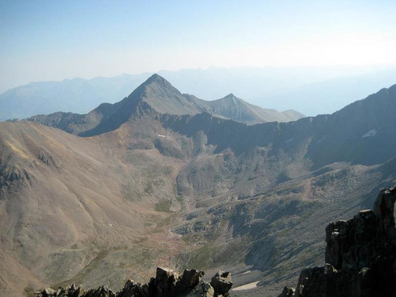 A view of Wilson Peak, across Navajo Basin from near the summit of El Diente.