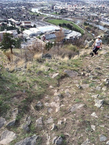 Looking down into the University of Montana Grizzly Stadium.