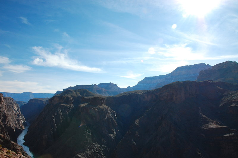 Southern view of the Grand Canyon from the Clear Creek Trail.