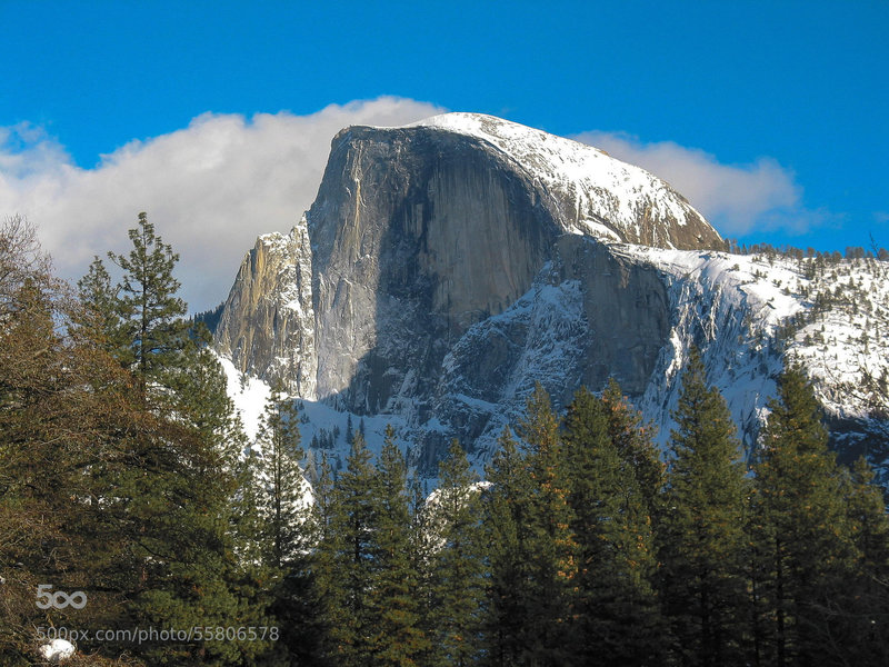 Half Dome from the bottom of Yosemite Valley.