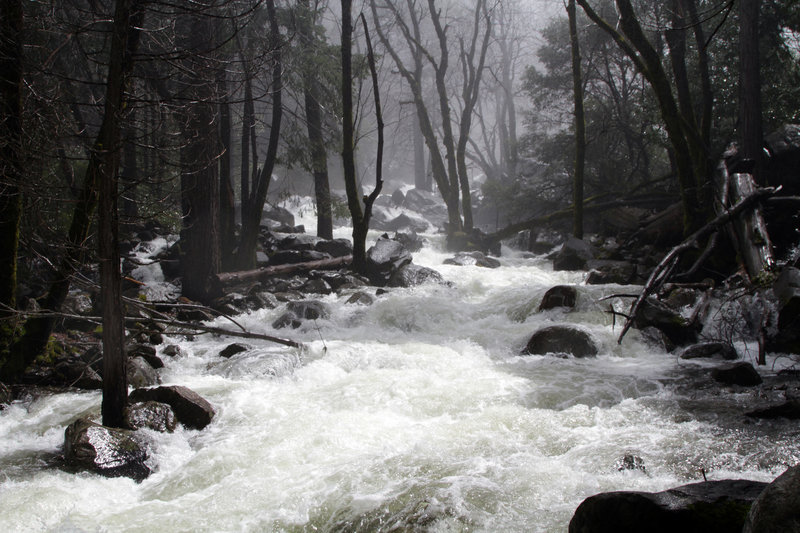 A raging torrent along Bridalveil Falls.