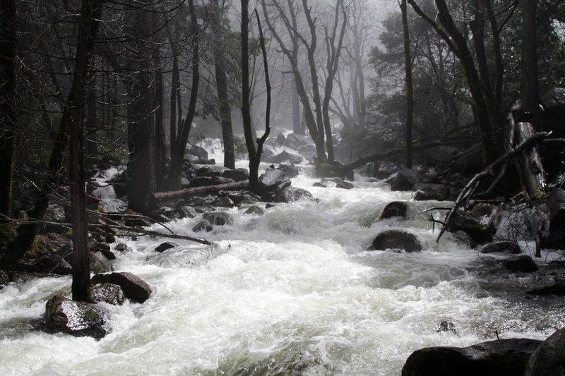 A raging torrent along Bridalveil Falls.