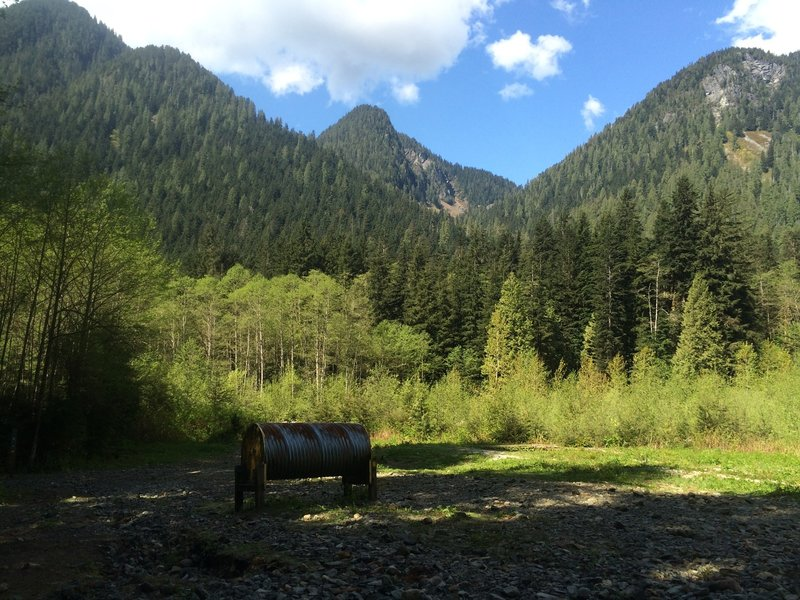 The Debris Chute.  The search and rescue supply drum can be seen in the foreground.  Crown and Fromme Mountains are in the background