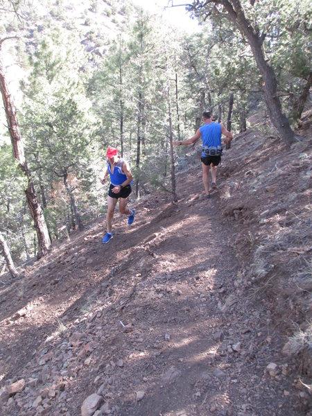 Negotiating one of 30 switchbacks on La Piedra trail