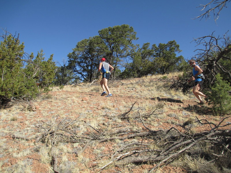 Working up to the top of one of two ridges on La Piedra