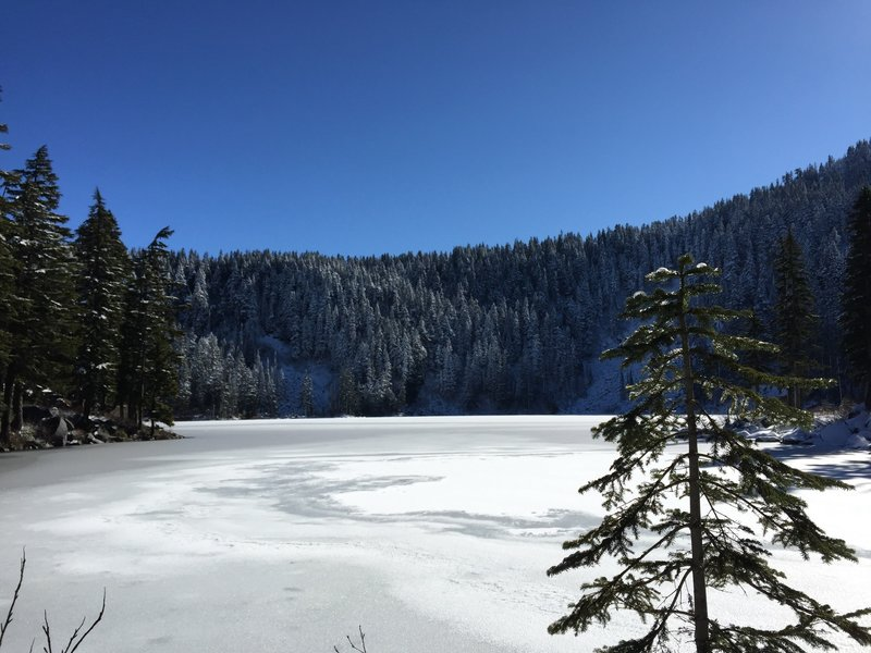 Mason Lake covered in snow