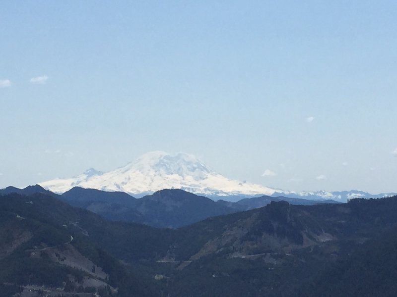 View of Rainier just before heading down to Mason Lake