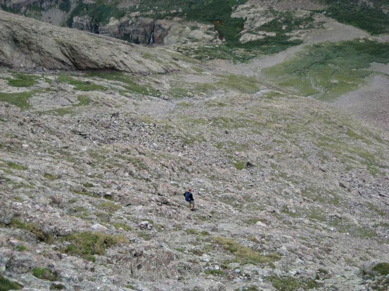 Descending the rocks down Challenger Point.