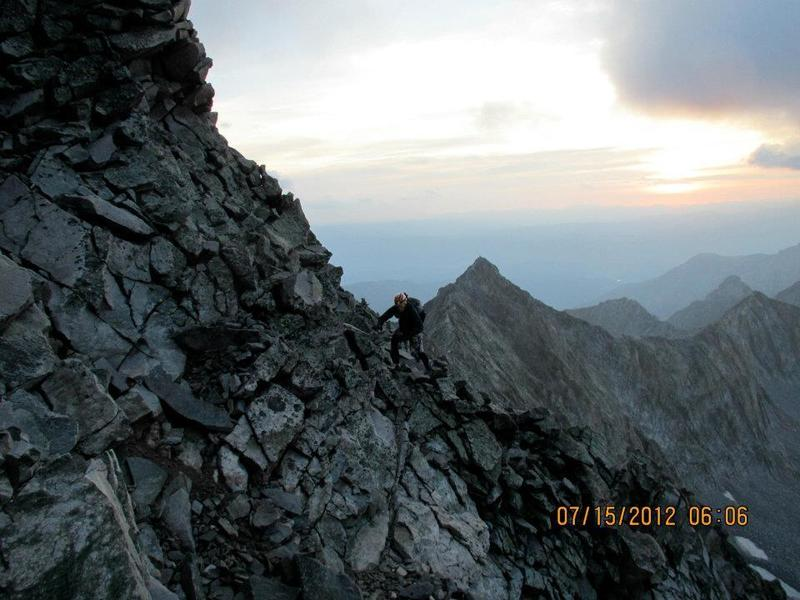 A look at some scrambling just past the knife edge.