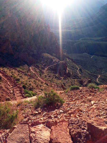 Looking down at the switchbacks on South Kaibab