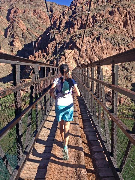 Running across the first bridge